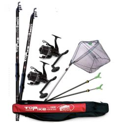Kit Lancio Fondo Carpfishing Lineaeffe 2 canne 3.60 mt + 2 mulinelli 5000 + accessori