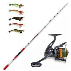 Completo Pesca a Seppie e Calamari Canna Squiddy XL + Mulinello Braid 40 + Trecciato + 5 Totanare