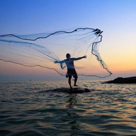 Rezzaglio Da Pesca 16 metri Maglia 25 mm Piombi Barilotti