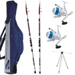 Kit Surfcasting 2 Canne 220 gr 2 Mulinelli 7000 Filo Fodero Tripode