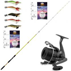 Kit Canna Barca Master 2,10 + Mulinello SH + 5 Squid + 2 Terminali