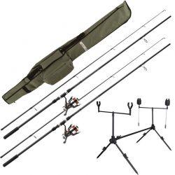 Combo Carpfishing Mitchell Kit Full 2 Canne + 2 Mulinelli + Accessori