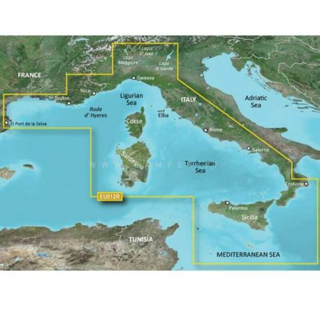 Garmin Bluechart G2 HXEU012R Mediterranean Sea Central-West
