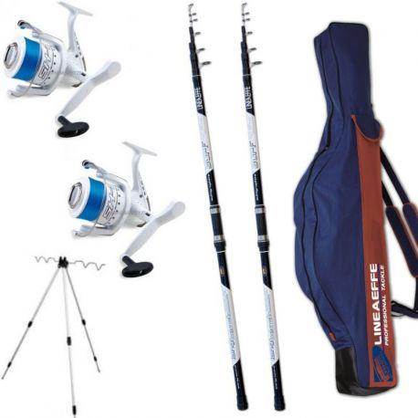 Kit Surf 2 Canne WWG 200 gr + 2 Mulinelli 7000 Filo Fodero Tripode