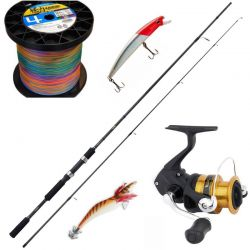 Kit Spinning Shimano Canna FX 2.40 mt + Mulinello FX + Filo + Artificiali