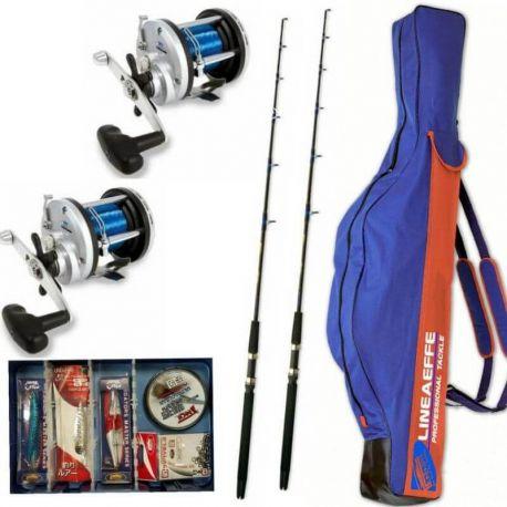 Kit Per Iniziare Pesca Traina 2 Canne 2 Mulinelli Accessori