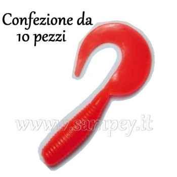 Esche siliconiche trota falcetti twister Behr 3.5 cm Rosso Fluo