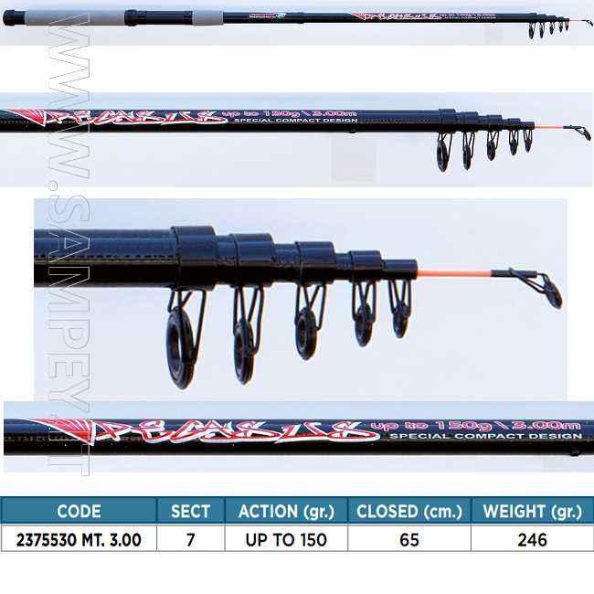 Canna da Lancio Lineaeffe 3 mt 150 gr Pegasus compatta e potente