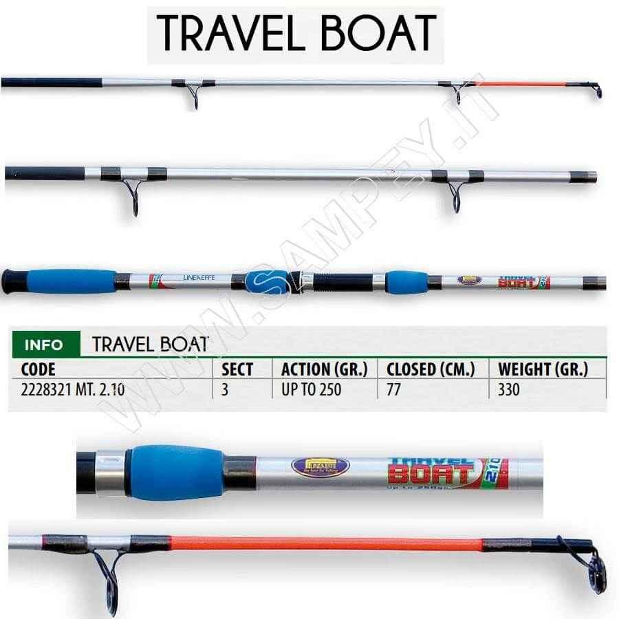 Canna Barca 2,1 mt Lineaeffe 3 Pezzi Viaggio Travel Boat (chiusa 77cm)