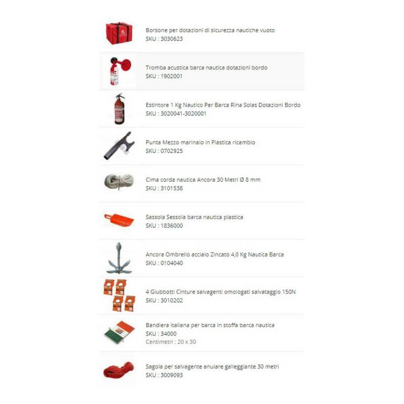Kit Borsa Dotazioni Bordo Barca Sicurezza Entro 12 Miglia MM