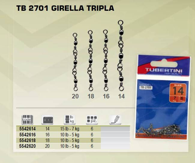 Girelle Pesca Triple Tubertini TB-2701