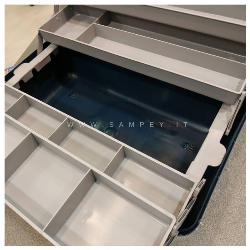 Cassetta valigetta pesca 4 piani cop. trasparente Grande 46 cm