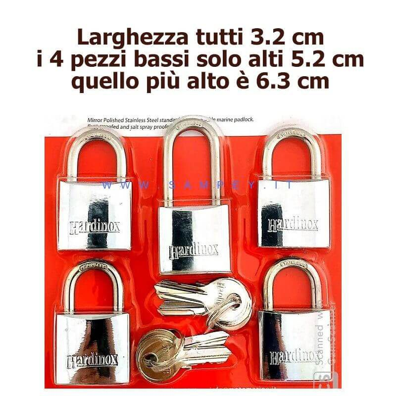 kit lucchetti con chiave unica