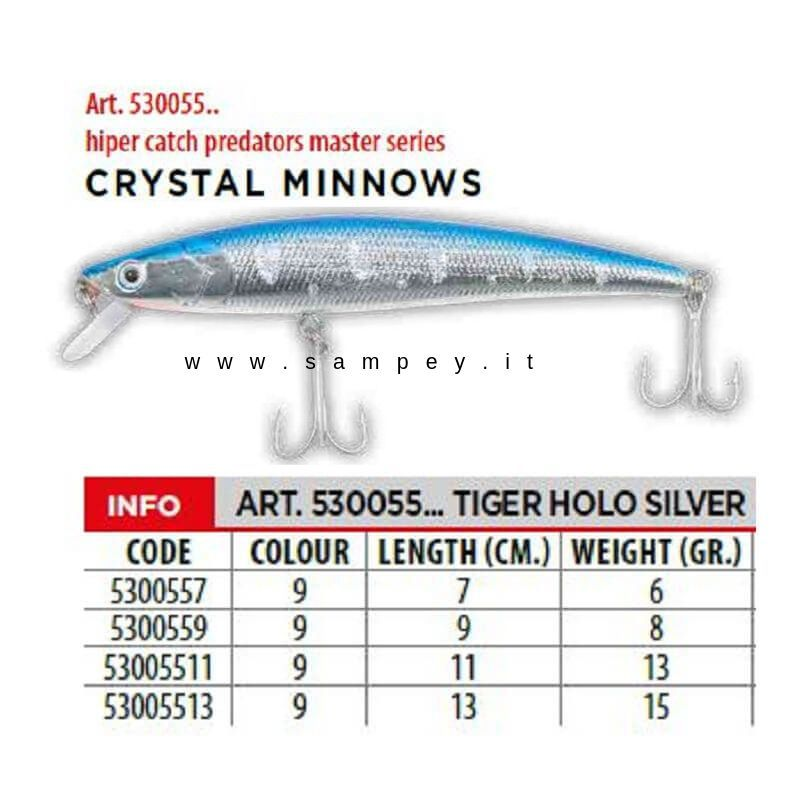 Artificiali Take Crystal Minnow Mare 7 cm Argento Blu