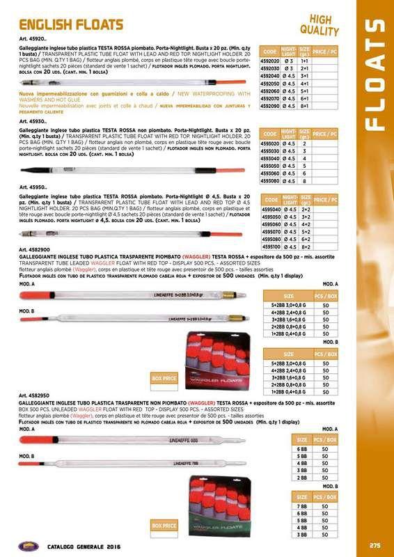 Galleggianti Inglesi Lineaeffe in PVC da 1+1 a 8+1 gr