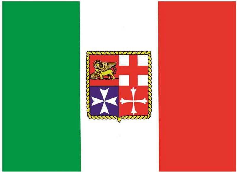 Bandiera Italia Nautica Adesiva Gommata Gommone