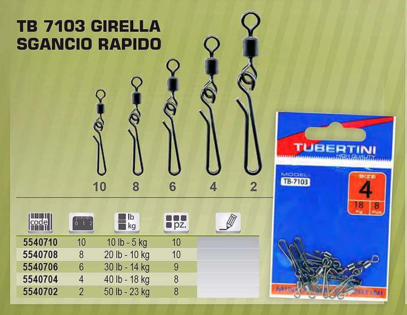 Girelle Pesca Sgancio Rapido Tubertini Tb 7103