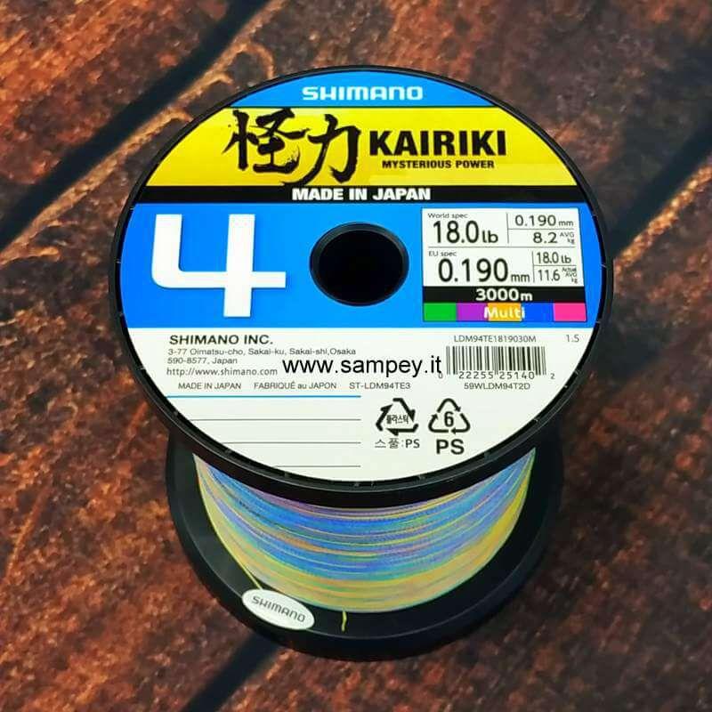 Trecciato Shimano Kairiki 4 Multicolor da 500 a 3000 mt 0.19 mm 11.6k