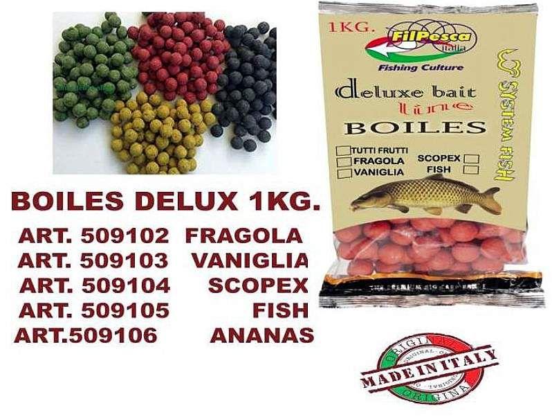 Boiles Carpa Deluxe Bait Line 20 mm Fragola Busta da 1 kg