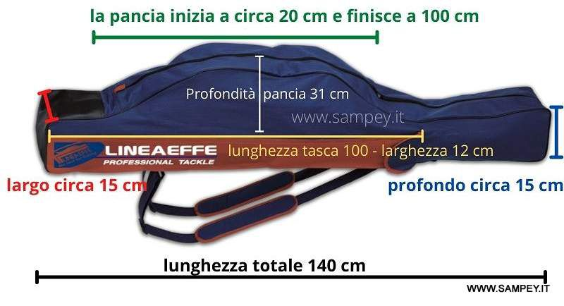 Fodero Pesca Portacanne Lineaeffe Cordura H 140 cm