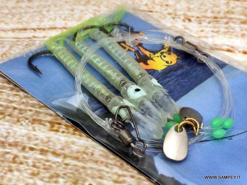 Lenza Pronta Traina 3 Artificiali Silicone Piuma Behr 7 Cm
